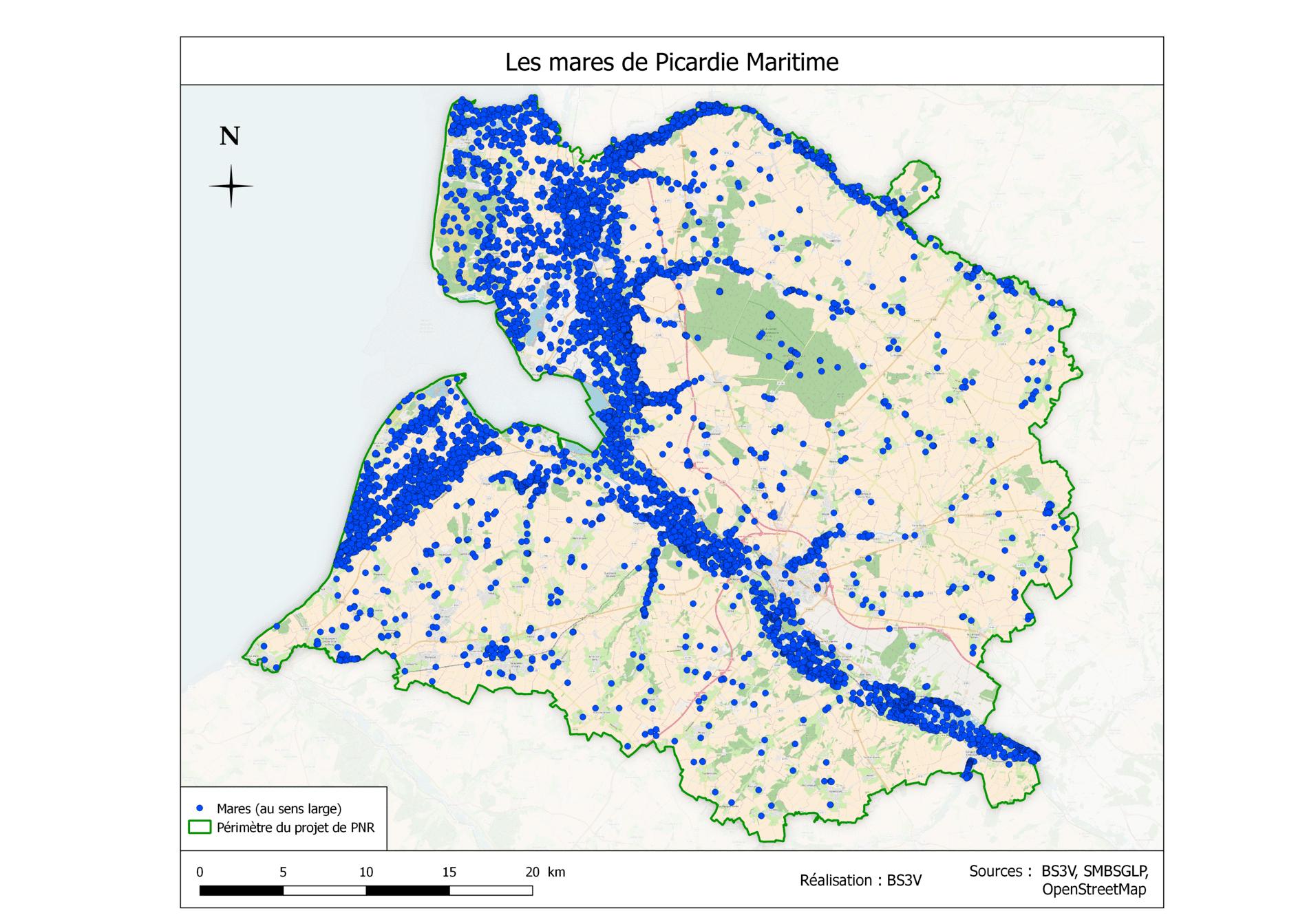 carte inventaire des mares  de Picardie maritime BS3V